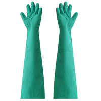 Super Lengthen Size 66cm Color Green Hoursehold Cleaning Working Gloves Rubber Nitrile Protecting Gloves