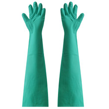 Super lengthen size 66cm Color green hoursehold cleaning working gloves rubber nitrile protecting