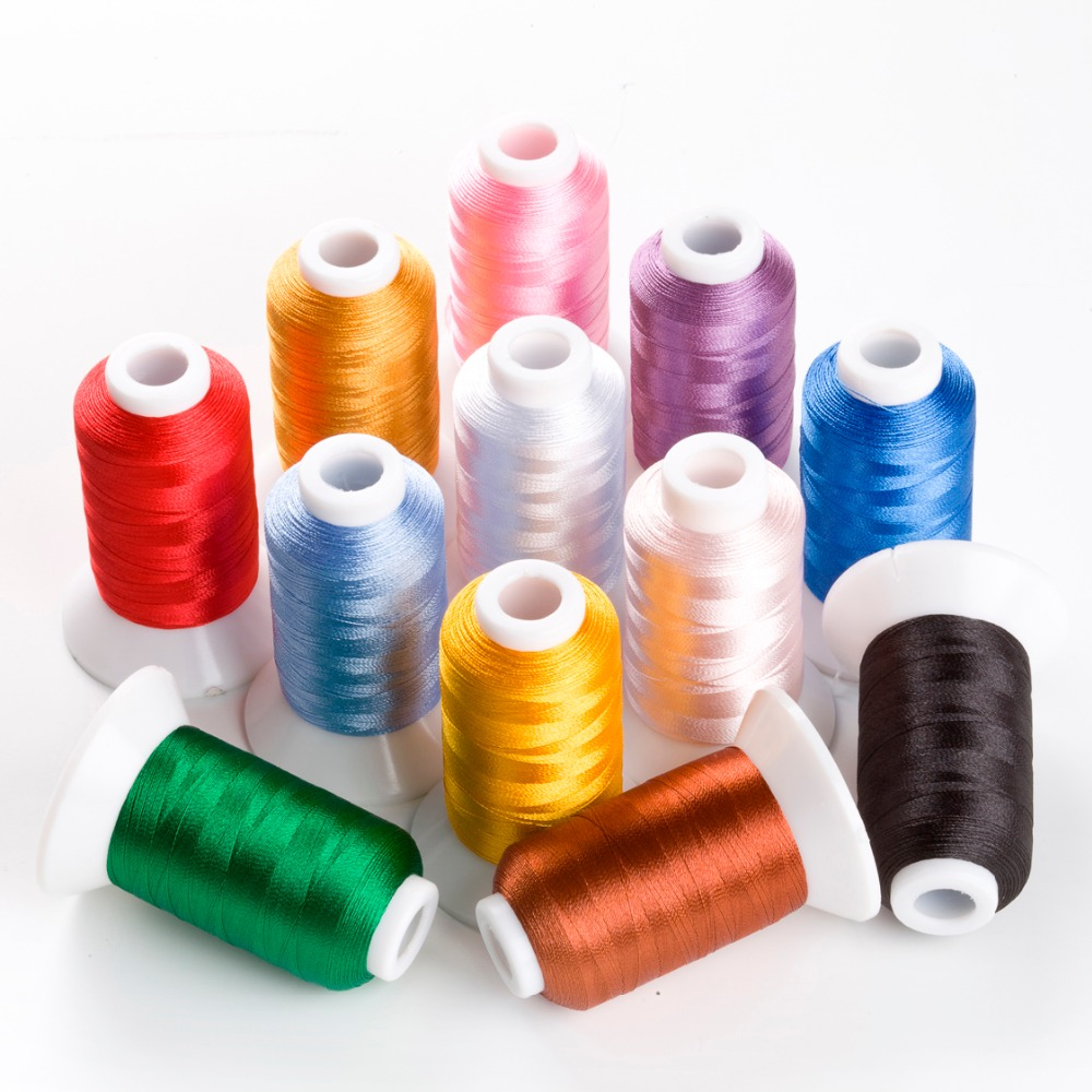 12 Spools Polyester Embroidery Machine Sewing Thread Bright Colors for Brother Babylock Janome Singer Pfaff Husqvarna Bernina