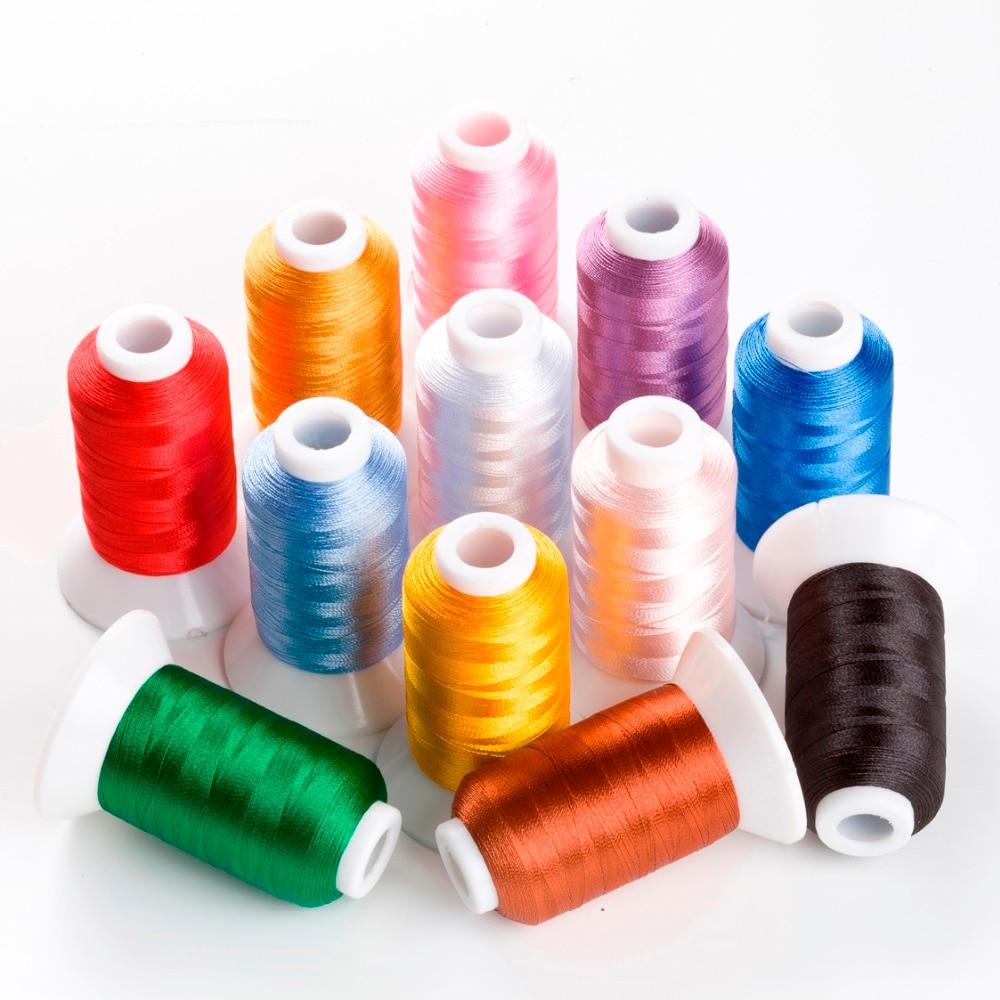 12 Spools Polyester Broderi Maskin Sytråd Ljusa färger för Brother Babylock Janome Sångare Pfaff Husqvarna Bernina