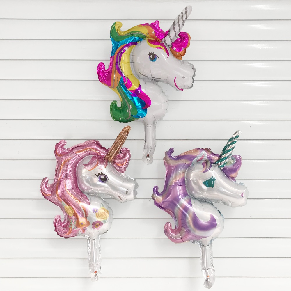 50pcs Unicorn Party 25x34cm Mini Unicorn Foill Balloons Baby Shower Girl Boy Birthday Party Wedding Decor Kids Toys Air Balloon To Be Highly Praised And Appreciated By The Consuming Public Festive & Party Supplies
