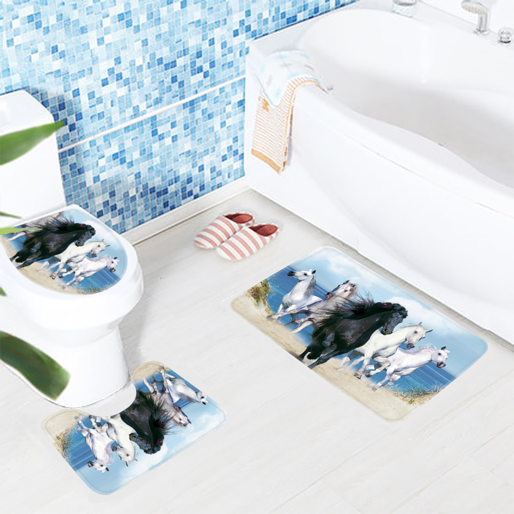 3PCS Bathroom Mat Set Animals Horses Bolted Sea Background Pattern Bathroom Rug Anti Slip Toilet Mat Bathroom Products