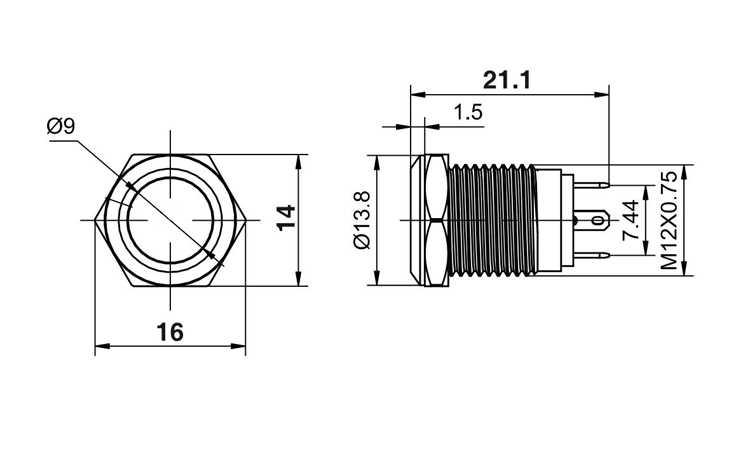 12 мм водонепроницаемый мгновенный металлический дверной звонок из нержавеющей стали, дверной звонок, звуковой сигнал, кнопочный переключатель, светодиодный автомобильный двигатель, ПК, пусковое устройство