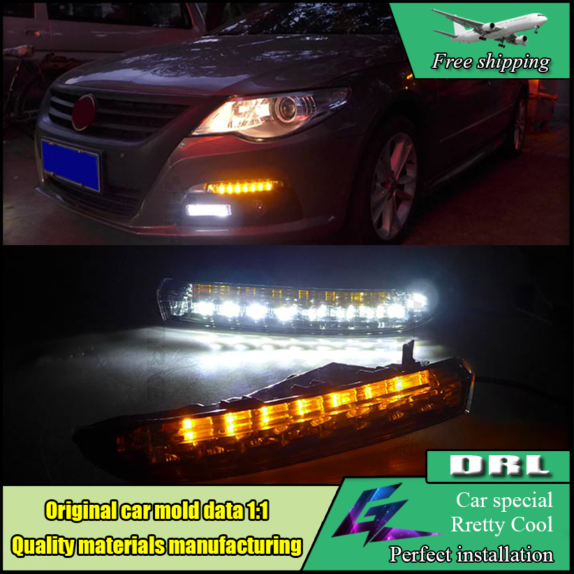 Car Styling LED DRL daytime running light lamp For Volkswagen VW Passat CC 2008~2013 With Yellow Turn Signal Light