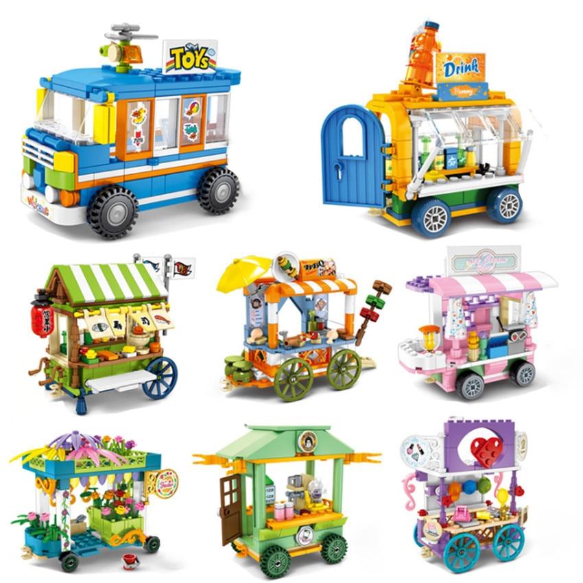Single Toy City Sembo Block Mini Street View Building Blocks Food Selling Car Bricks Sets Toys For Children