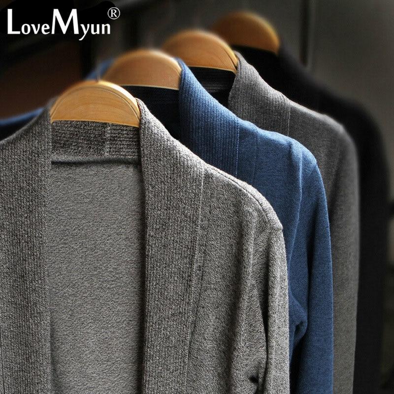 2019 Autumn Winter New Fashion Mens  Casual Coat Thin Knitwear Clothing Long Men  Sweater Slim Knitted Cardigan Cloak