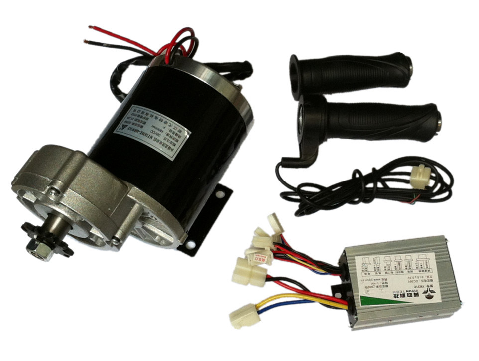 MY1020Z 600W 36V DC gear brushed Motor with Motor Controller and Twist Throttle girps Electric Trike