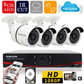 SUNCHAN 8 Canales Sistema de Cámaras de Seguridad 8CH DVR 4 UNIDS AHDH 1080 P CCTV Cámara Principal de Vigilancia Sistema de Cámaras 1 TB de DISCO DURO