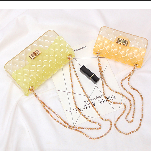 Jellyooy Clear Colorful Transparent jelly Bag Gradient Candy Color Crossbody Bags Designed Ladies Shoulder Chain Messenger Bag