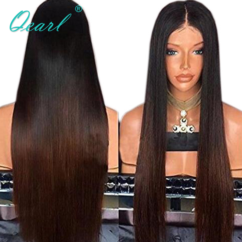 Ombre Color Straight Human Hair Lace Front Wigs With Baby Hair 130 Density Pre Plucked Brazilian