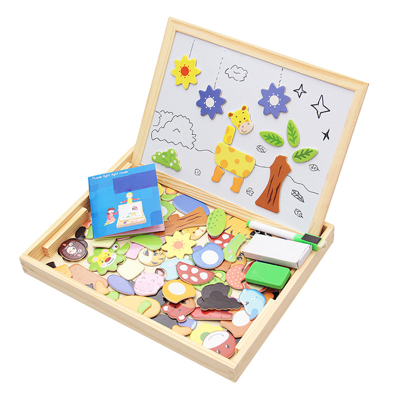 Children's Three dimensional Puzzle Magnetic Animal Fight Spell Music Puzzle Wooden Toys