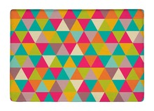 Floor Mat Rainbow Color Abstract Kaleidoscope Geometric Triangles Print Non-slip Rugs Carpets For Indoor Outdoor Living Room