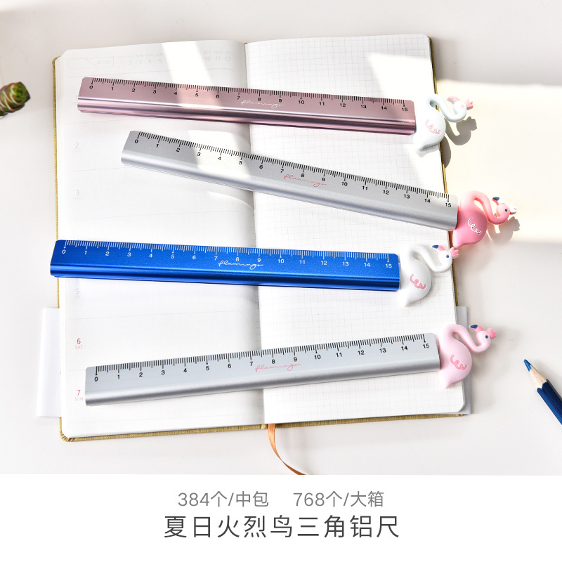 Fruit Flamingo Aluminum Ruler Measuring Straight Ruler Tool Promotional Gift Stationery