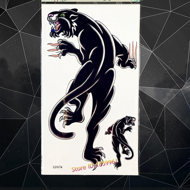 Black Panther Temporary Tattoo Men Body Art Fake Tattoo Paste 17x10CM Jaguar Beast Waterproof Flash Tattoo Stickers WOmen