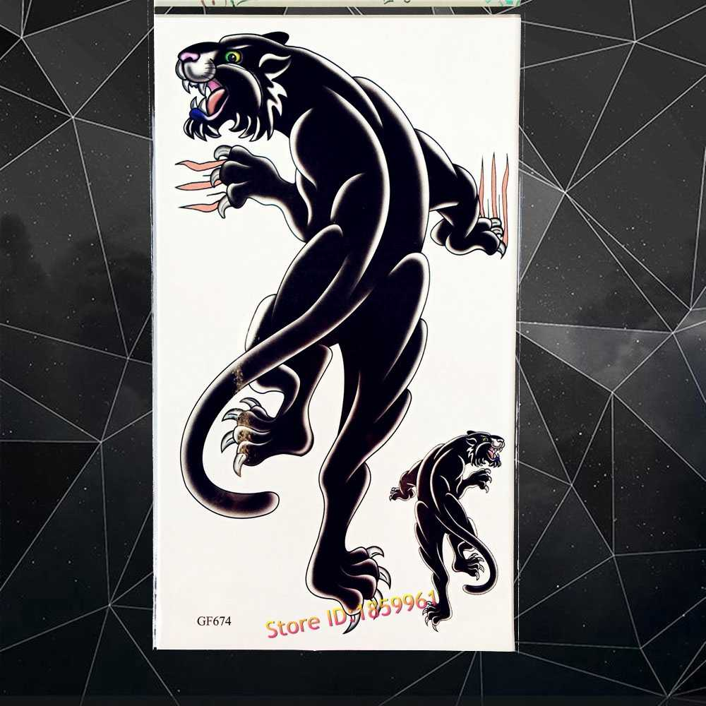 Black Panther Temporary Tattoo Men Body Art Fake Tattoo Paste 1710cm Jaguar Beast Waterproof Flash Tattoo Stickers Women