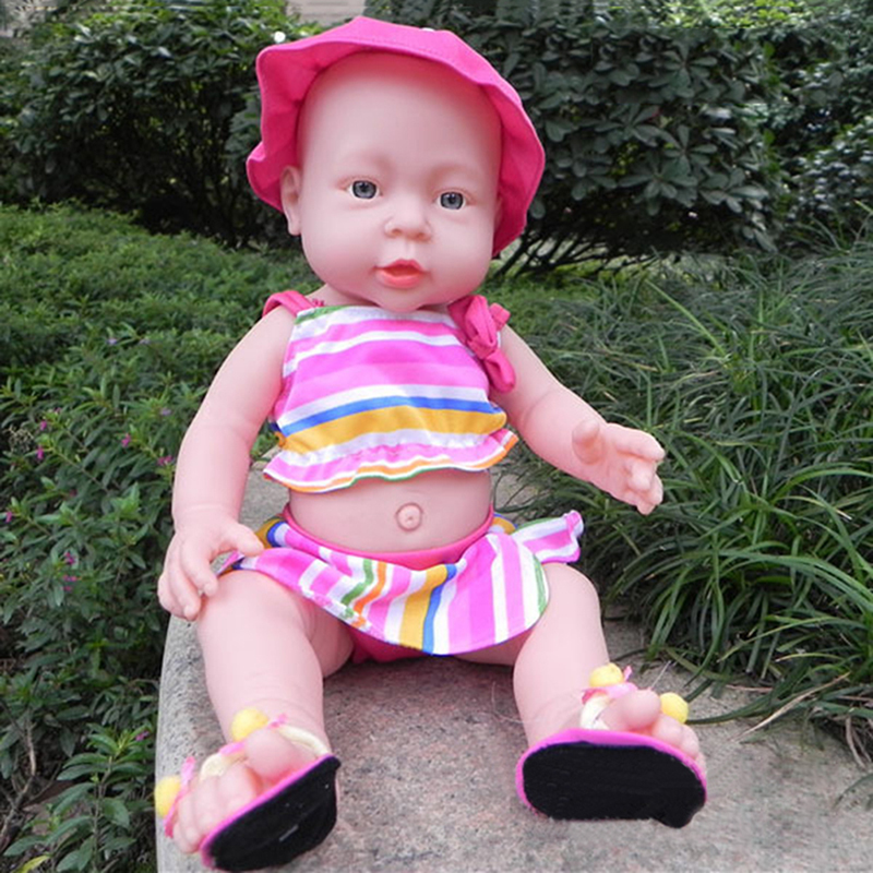 New Full Silicone Vinyl Reborn Baby Doll Realistic Girl Babies Dolls 16 Inchs Lifelike Pri With Hat Clothes Set Kids Gift