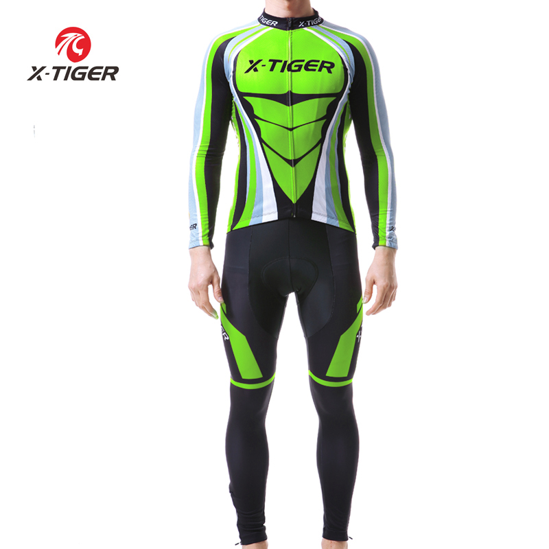 X TIGER Man Pro Long Sleeve Cycling Jersey Sets Breathable 3D Padded Sports Wear Mountain Bicycle