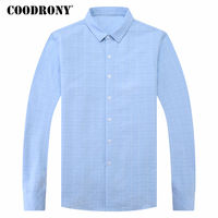 COODRONY Long Sleeve Cotton Shirt Men Brand Clothing Mens Business Casual Shirts 2018 Spring Fashion Plaid