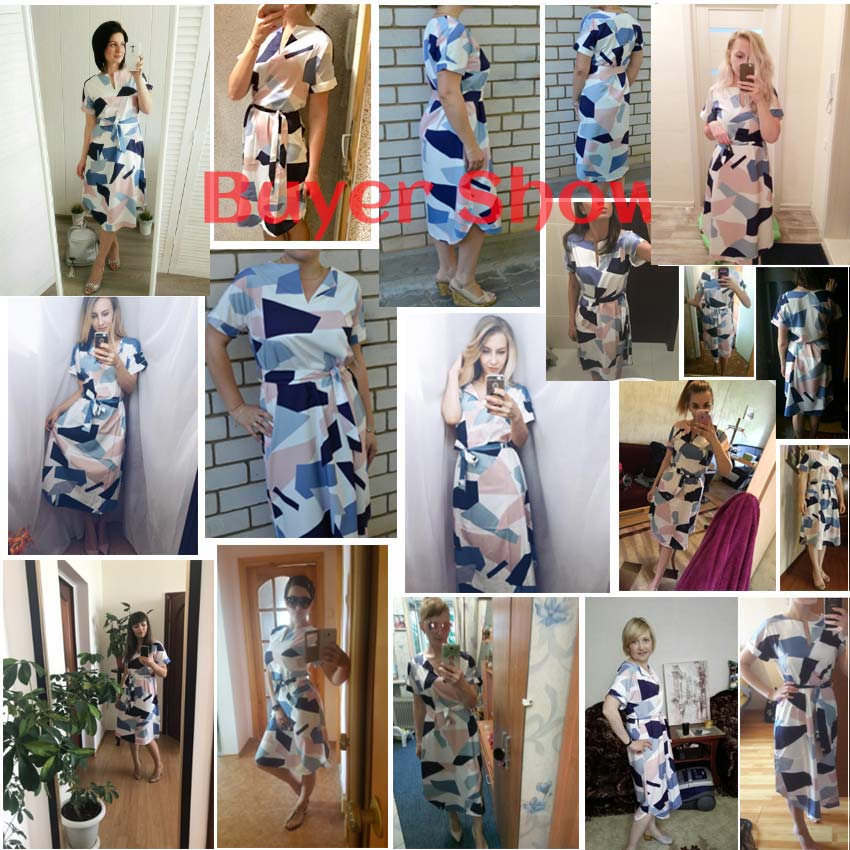Ahagaga 2018 Summer Dress Women Fashion Print Elegant Cute Sashes O-neck Sexy Slim Sheath Dress Women Dresses Vestidos Robes 1