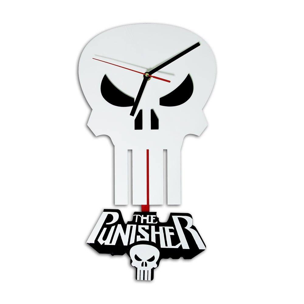 1piece the punisher skull pendulum wall clock marvel hero milatary skull art home decor clock punisher - Pendulum Wall Clock