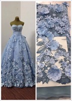 5yards blue 3D lace fabric with pink flowers, embroidered lace fabric with 3D flowers 3D heavy bead lace applique with rosette
