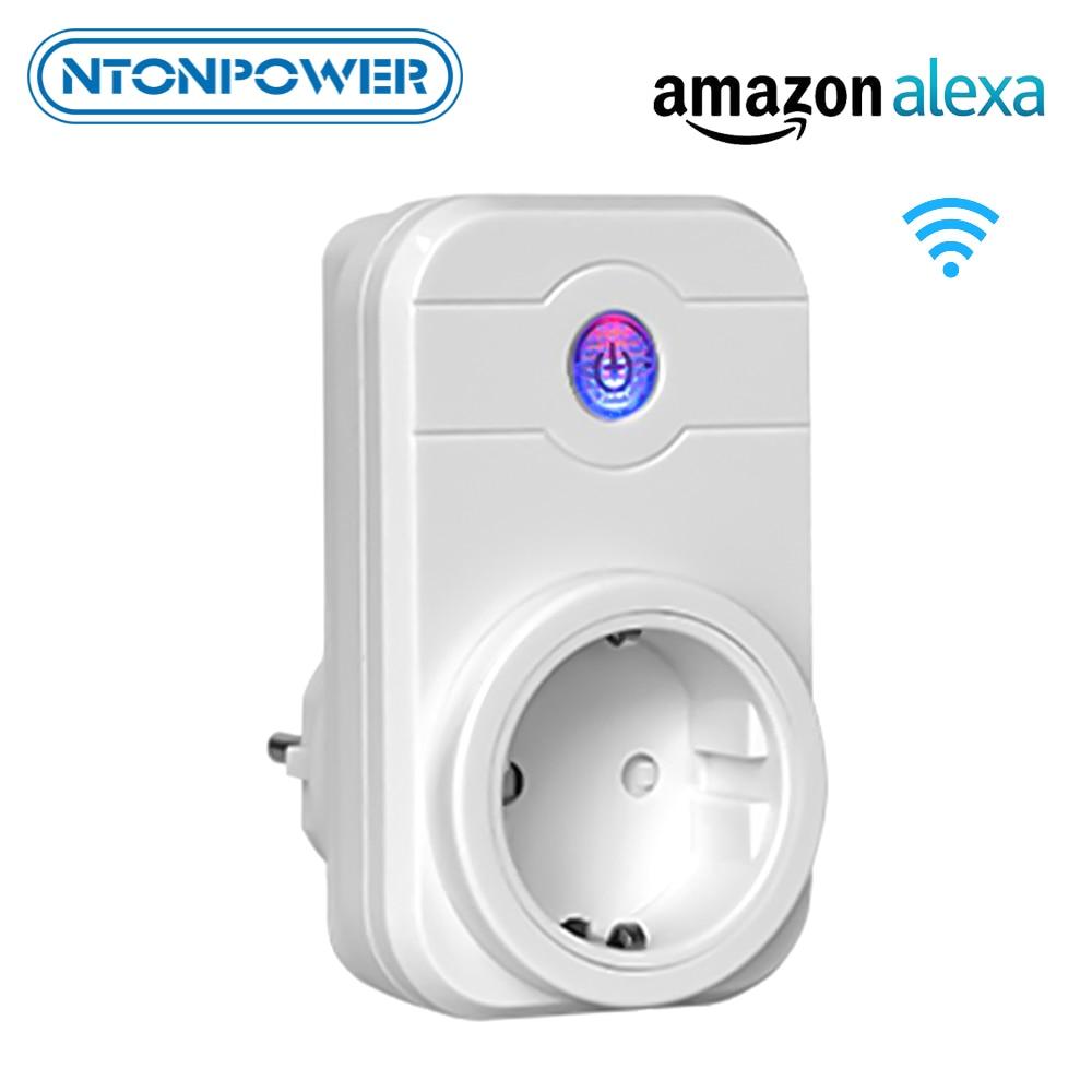 Ntonpower wi fi tomada de energia inteligente plugue da ue sem fio app controle remoto interruptor do temporizador trabalho com alexa para automação residencial inteligente