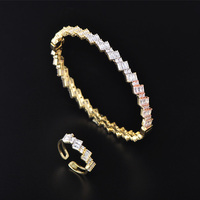 Dazz Exquisite Geometric 3 Color CZ Zircon Copper Gold Color Bangle Ring Sets For Women Indian Wedding Banquet Jewelry Set Gifts