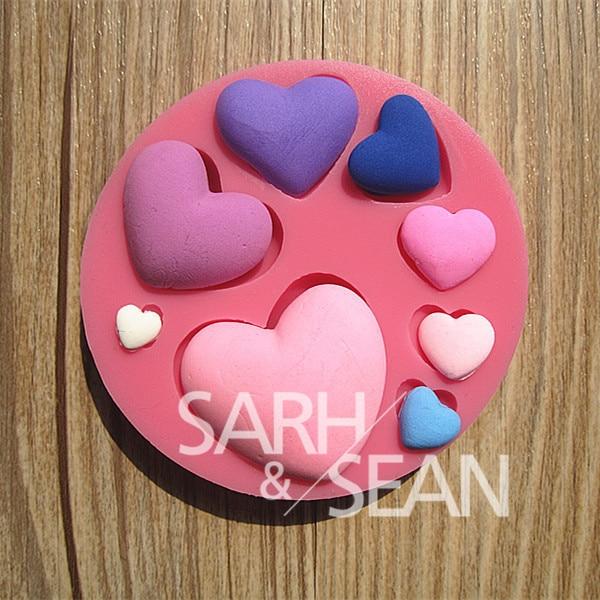 M0120 սիրտը սիրում է սիլիկոնային ֆանտաստիկ տորթերի բորբոսներ օճառով շոկոլադե բորբոս խոհանոցով թխում կավի կաղապար