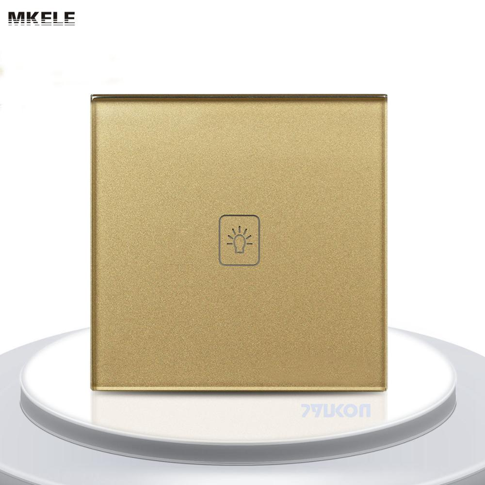makerele Remote Control Touch Switch UK Standard Gold Crystal Glass Panel LED 50HZ/60HZ Wall Light wall light free shipping remote control touch switch us standard remote switch gold crystal glass panel led 50hz 60hz