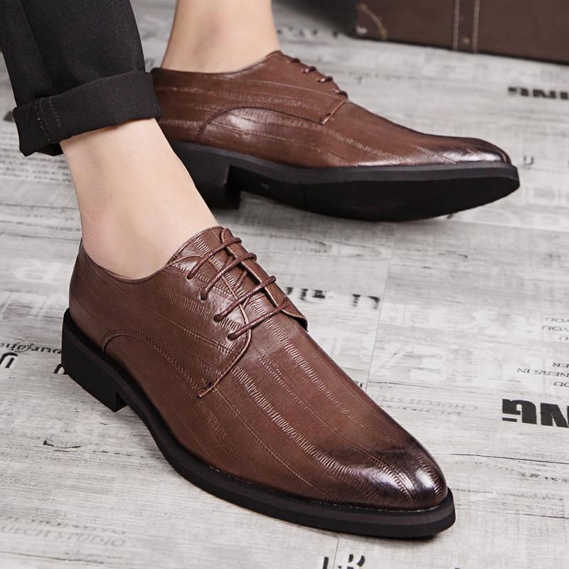 up Oxford Brun Robe Arrivée Et Hommes Doux Respirant Zapatos Mode Black brown Chaussures Taille 38 44 D'affaires Noir De Mocassins Nouvelle Dentelle IBP5gqwI