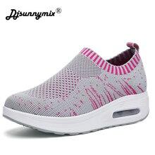 DJSUNNYMIX 2018 Spring summer Women Sports Shoes Lightweight Flats Air Mesh Running Comfortable Walking Sneaker Female Slip-on