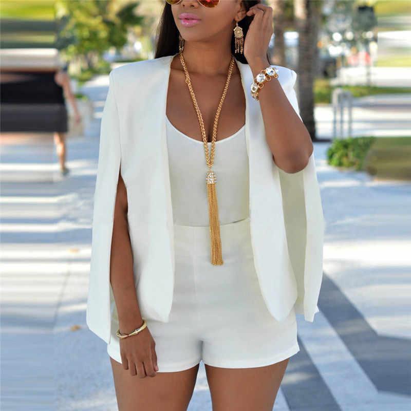 여름 가을 여성 짧은 망토 블레이저 코트 케이프 카디건 자켓 슬림 사무실 간단한 화이트 블레이저 코트 OL 정장 블랙 자켓 Outwear