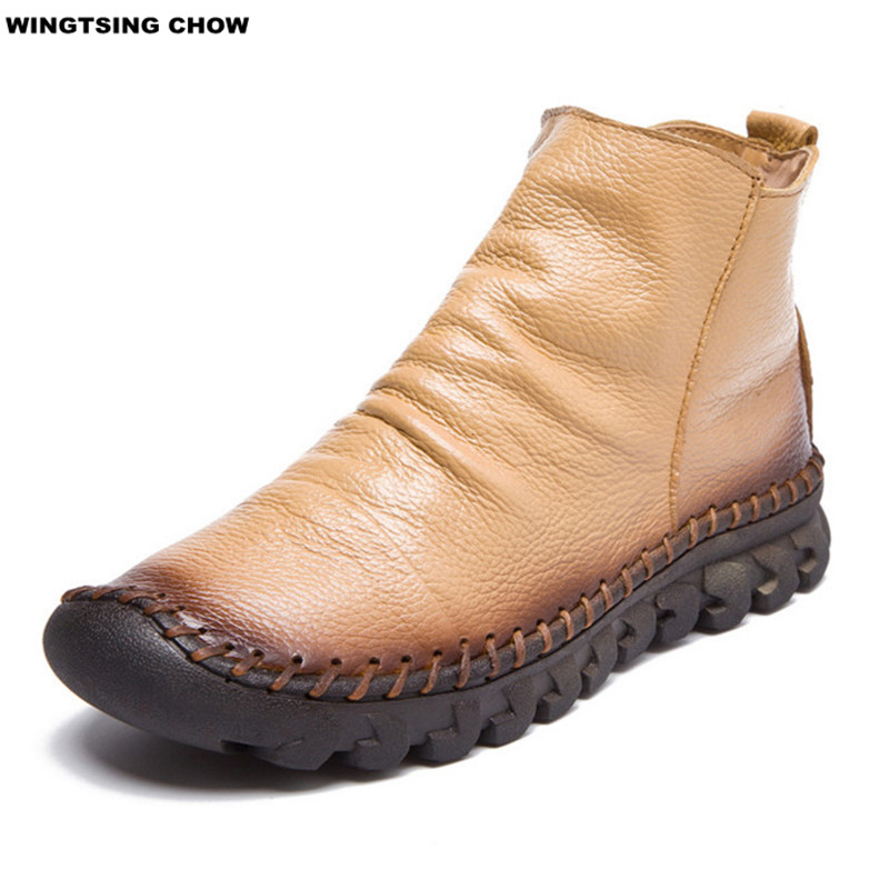 handmade leather boots womens new fashion soft leather shoes boots comfort 3302