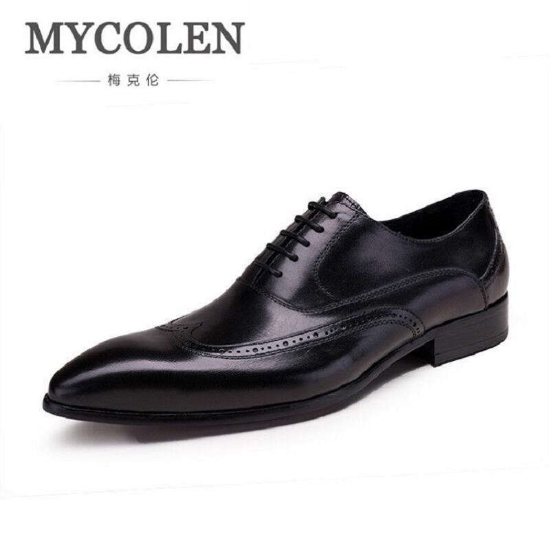 MYCOLEN Black Handmade Genuine Leather Wedding Mens Shoes Italian Luxury Brand Office Brogues Oxfords Formal Shoe for Man mycolen mens shoes round toe dress glossy wedding shoes patent leather luxury brand oxfords shoes black business footwear