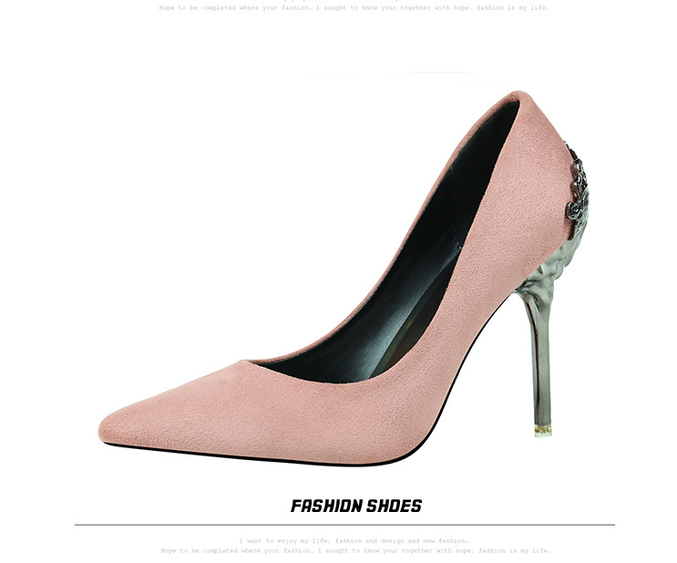 1ecba3e6d0 Solid Golden Black Shoes Fashion Sexy Pointed Toe Women High Heels Shoes  Flock Metal Heel Party Wedding Shoes Women's Pumps Work