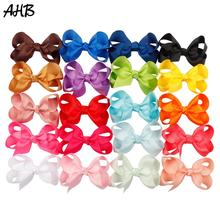 AHB 20pcs/lot 3 Small Hair Bows for Baby Girls Fashion Candy Ribbons Bowknot Clips Kids Hairgrips Headwear