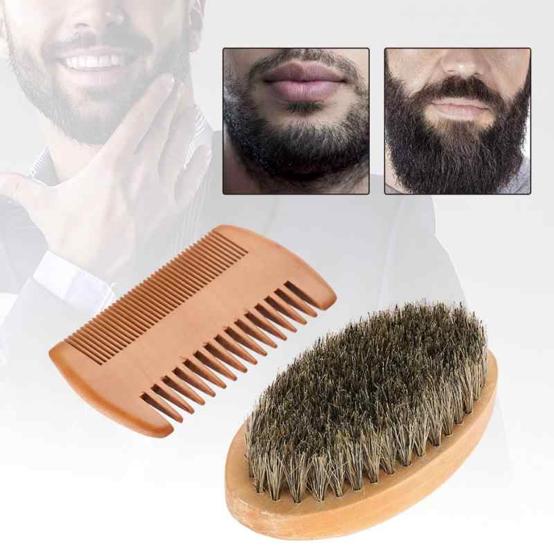 Men Beard Mustache Oval Brush + Comb Facial Beard Shaving Cleaning Grooming Shaving Brush Kit Male Facial Hair Brush Set Wood