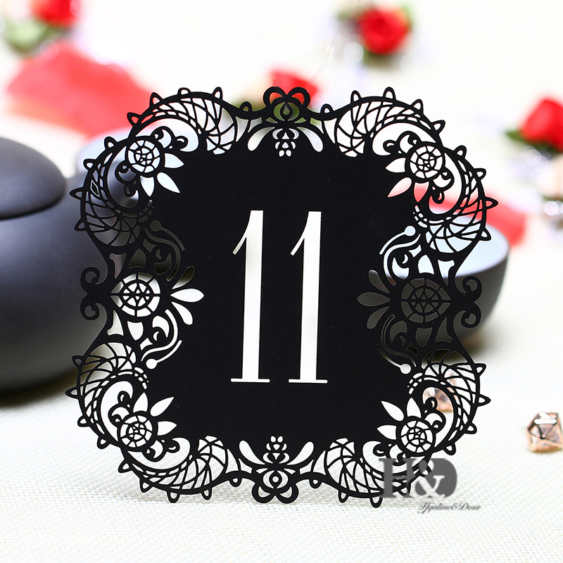 10pcsset Black Hollow Lace Table Number Table Cards From 11 To 20