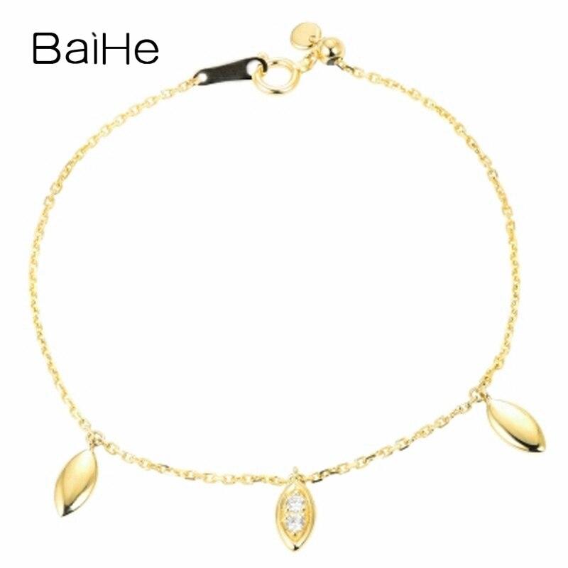 BAIHE Solid 14K Yellow Gold 0.06ct Certified H/SI 100% Genuine Natural Diamonds Engagement Women Trendy Fine Jewelry Bracelet цена