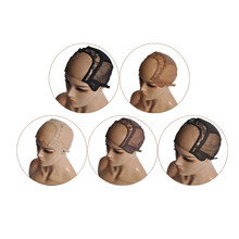 S/M/L U Part Swiss Lace Wig Cap For Making Wigs With Adjustable Stretch Straps Glueless Weaving Cap Hair Extension Cap(China)