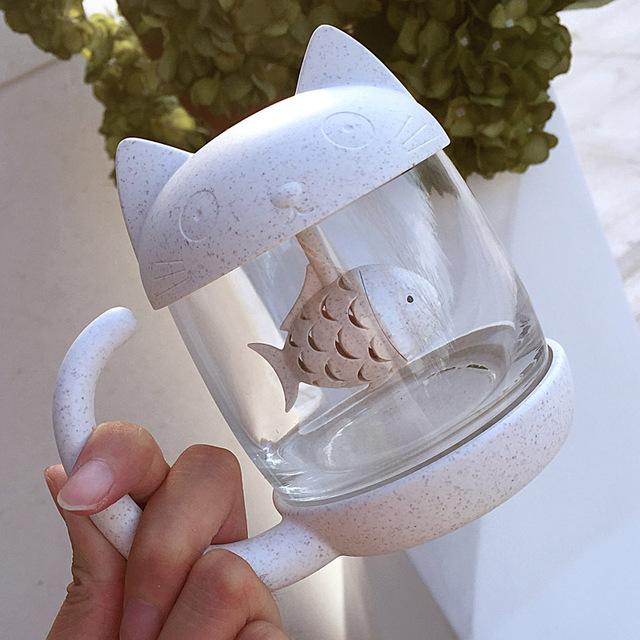 Cartoon Cat Tea Cup with Fish filter high quality silicon glass