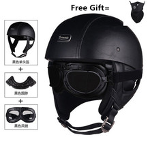 Motorhelm Motorfiets Scooter Open Gezicht Half Lederen Helm Retro Vintage Stijl Motocross Helm Met Halsdoek Verwijderen