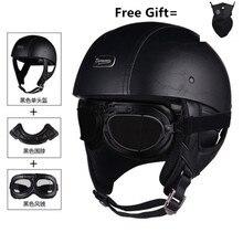 Motorrad Helm Motorrad Roller Open Face Halb Leder Helm Retro Vintage Stil Motocross Helm mit halstuch entfernen