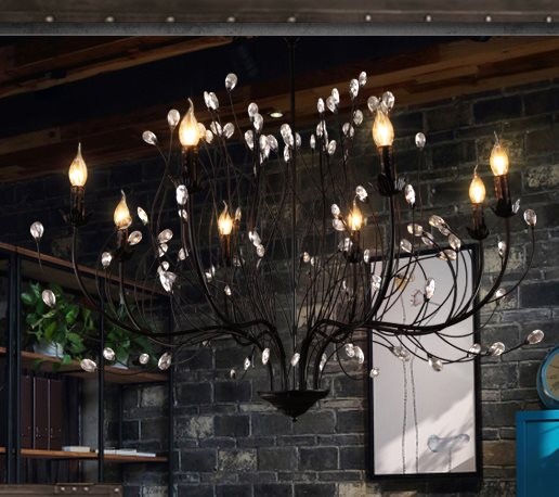 loft bar clothing store creative tree branch crystal chandelier dining room living room bedroom bar counter teak chandelier недорого
