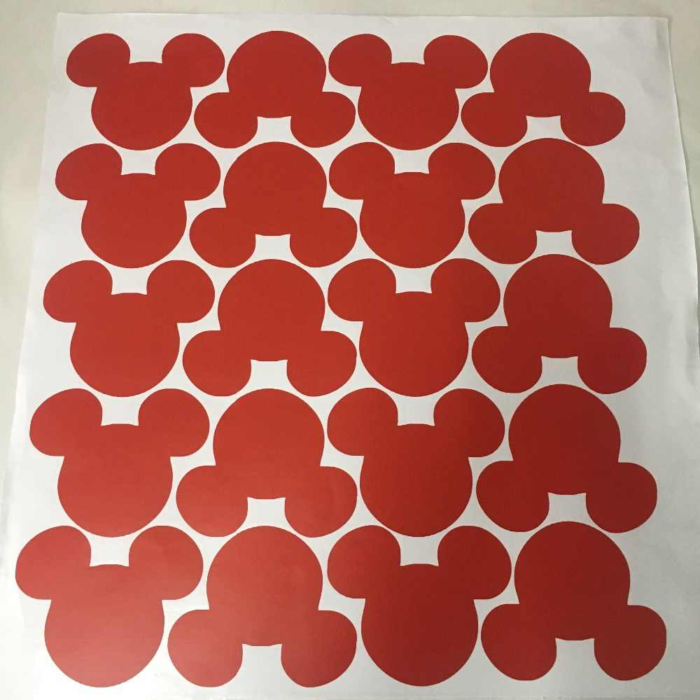 20pcs Set Cartoon Cute Mickey Mouse Head Shape Wall Stickers For Kids Baby Rooms Poster