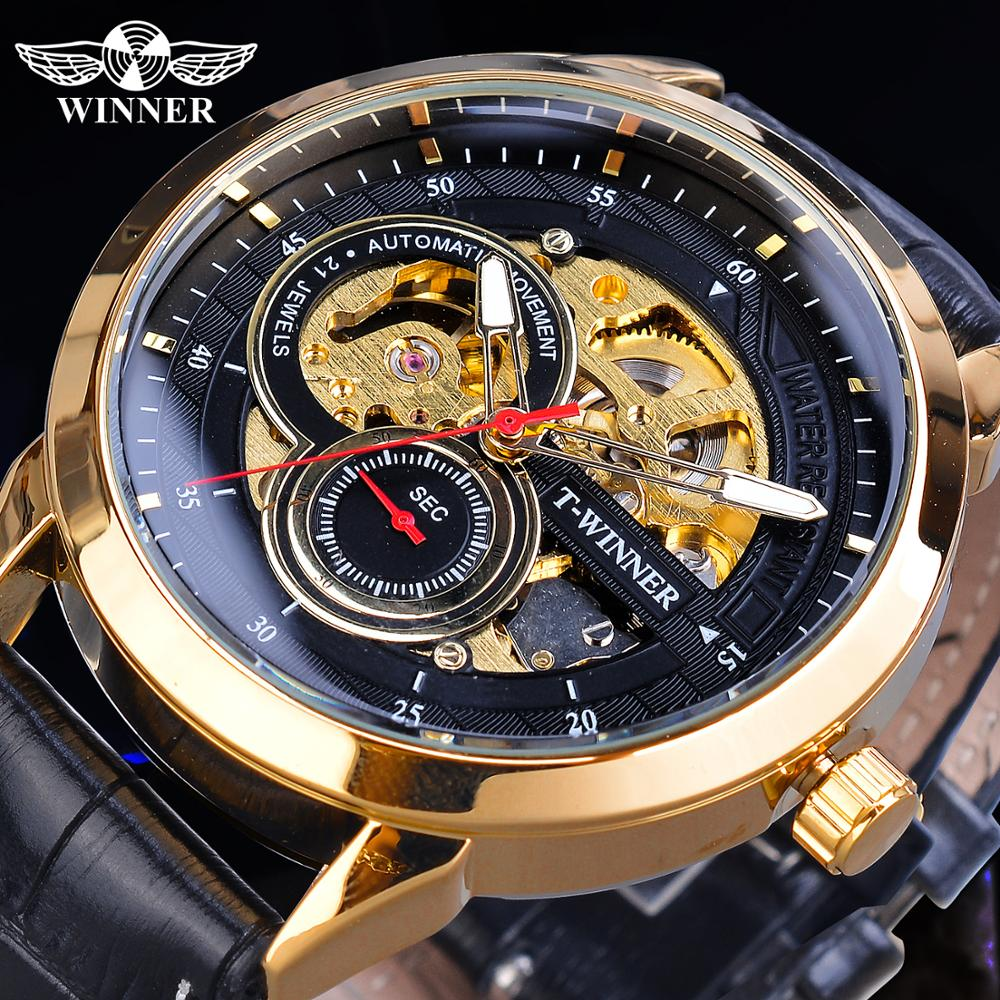 Winner 2019 Relogio Masculino Watch Mens Automatic Fashion Sport Golden Case Black Leather Band Mechanical Business Reloj Hombre in Mechanical Watches from Watches