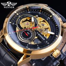 Winner 2019 Relogio Masculino Watch Mens Automatic Fashion Sport Golden Case Black Leather Band Mechanical Business Reloj Hombre