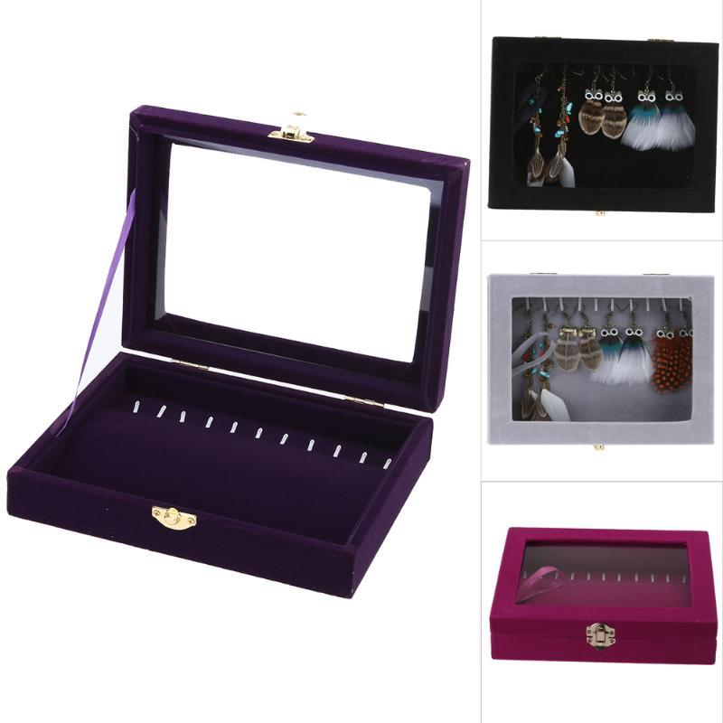 11 Hook Earring Necklace Bracelet Jewelry Casket Organizer Display Women Men Jewelry Holder Case Gift Box