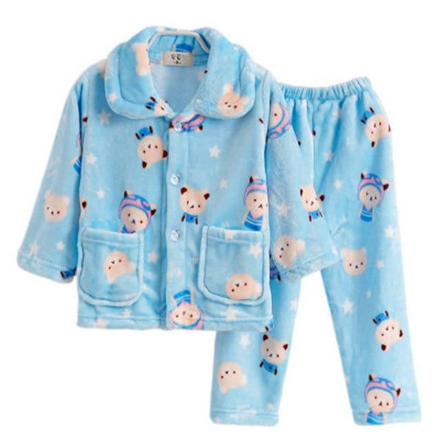 a194b931d137 Baby Boys Girls Sleepwear Kids Night Suit Polar Pijama Children ...