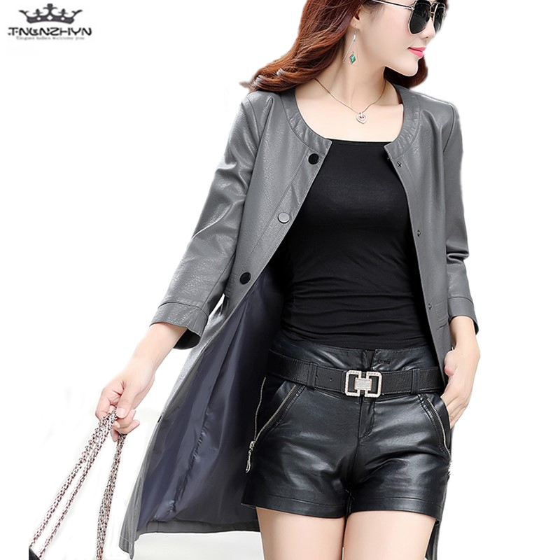 tnlnzhyn 2019 New Spring Autumn Women PU   Leather   Jacket Women Large Size Faux   Leather   Coat Medium long   Leather   Outerwear Y1110